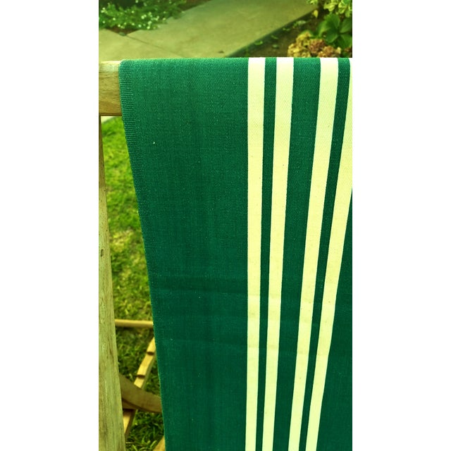 Vintage Wood & Canvas Folding Beach Deck Chair For Sale - Image 5 of 7