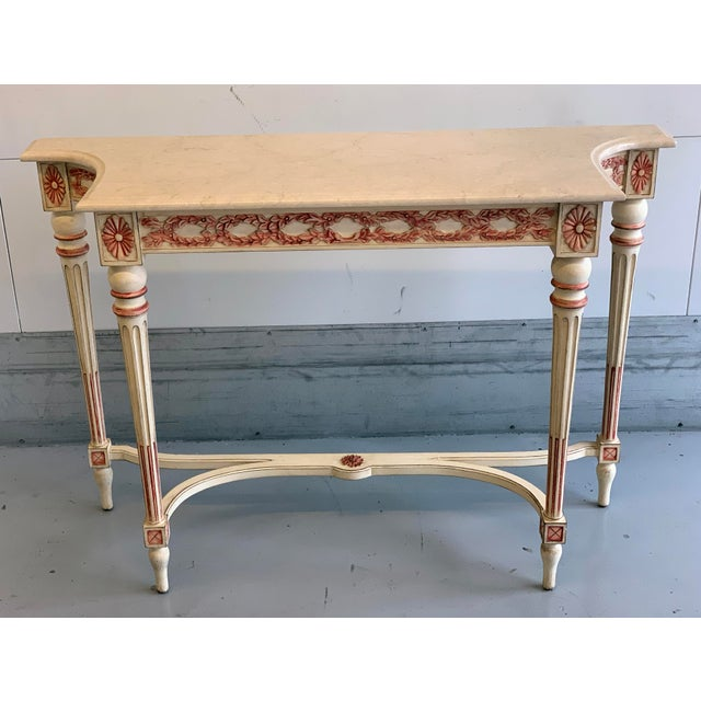 20th Century Hollywood Regency Marble Top Console Table For Sale - Image 11 of 11