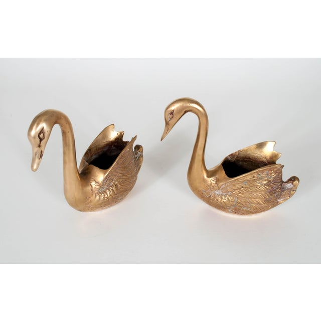 Metal Vintage Brass Swan Planters - Set of Three For Sale - Image 7 of 12