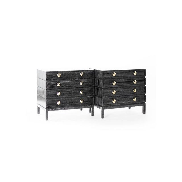Stamford Modern's Stacked Bedside Tables in Black Ceruse - a Pair For Sale In New York - Image 6 of 11