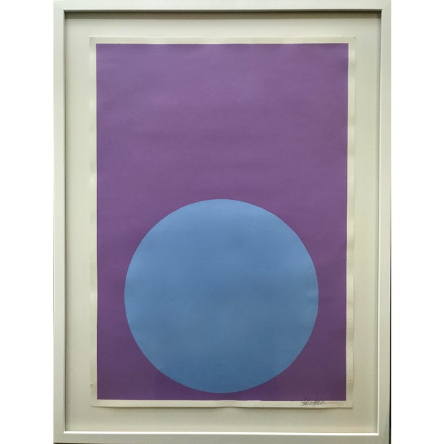 Soft Blue Dot on French Lavender Painting - Image 4 of 4