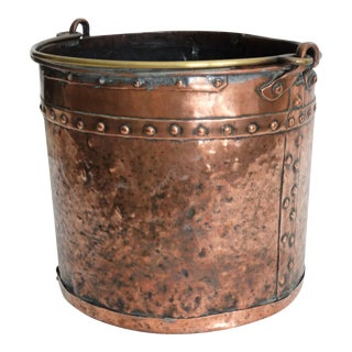 Large Antique Copper Riveted Bucket For Sale