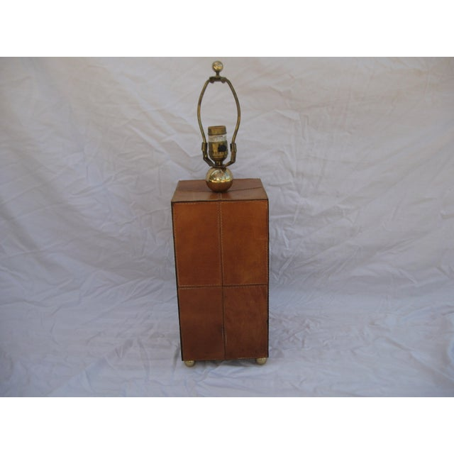 Jean Royere Attributed Leather Patch Lamp - Image 3 of 8