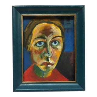 """Framed Original Painting on Canvas """"Colorful Face"""" For Sale"""
