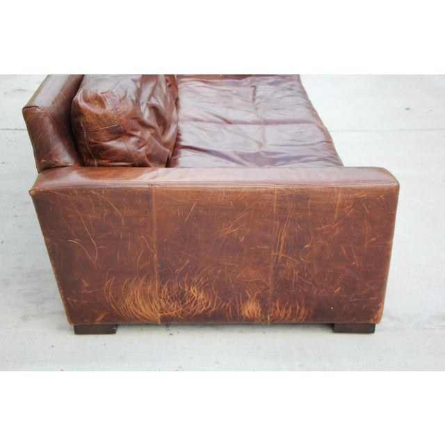 Restoration Hardware Distressed Leather Sofa