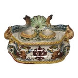 Image of Italian Faience Dolphin Handle Inkwell For Sale