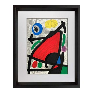 Joan Miro Original Limited 106/150 Lithograph Lana Paper + Cat. Ref C.134 with Frame For Sale