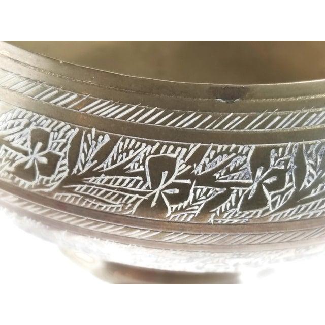 Brass Vintage Indian Hand Tooled Etched Solid Brass Pedestal Bowl For Sale - Image 8 of 10