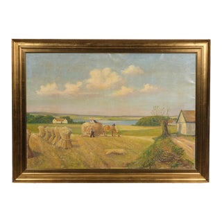 Pastoral Hay Landscape by Leo Houlberg For Sale