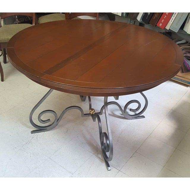 2000 - 2009 Creative Metal Round Table With Extra Leaf For Sale - Image 5 of 12