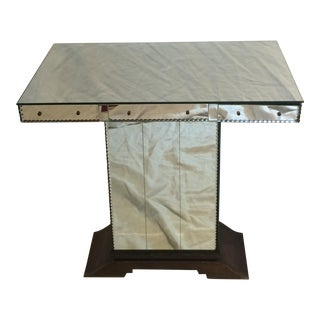 French Art Deco Mirrored Side Table with Mahogany Base For Sale