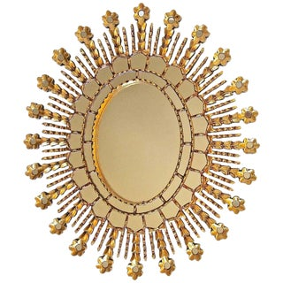 Sunburst Giltwood Oval Spanish Colonial Wall Mirror For Sale