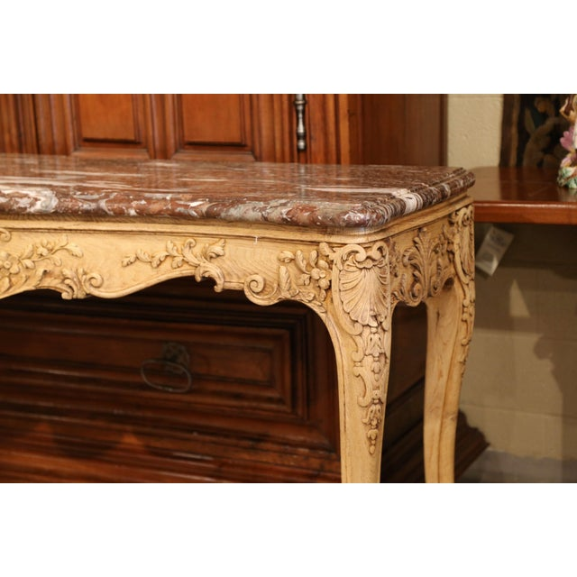 19th Century French Louis XV Carved Oak Serpentine Console Table With Marble Top For Sale In Dallas - Image 6 of 9