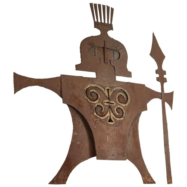 Metal Gladiator Wall Sculpture For Sale