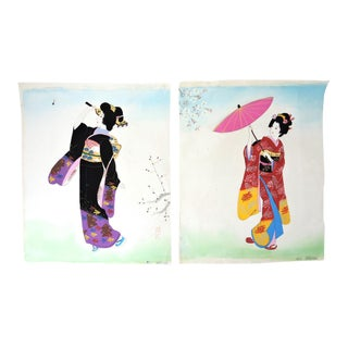 """Ladies of the Floating World"" - Antique Japanese Paintings on Silk - a Pair (Bijin) Circa 1925 For Sale"