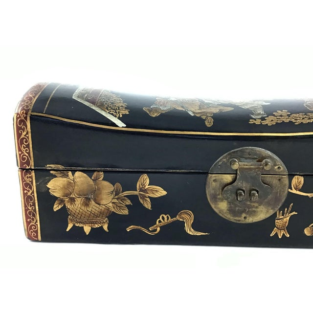 1910s Chinese Leather Money Box Pillow For Sale - Image 11 of 13