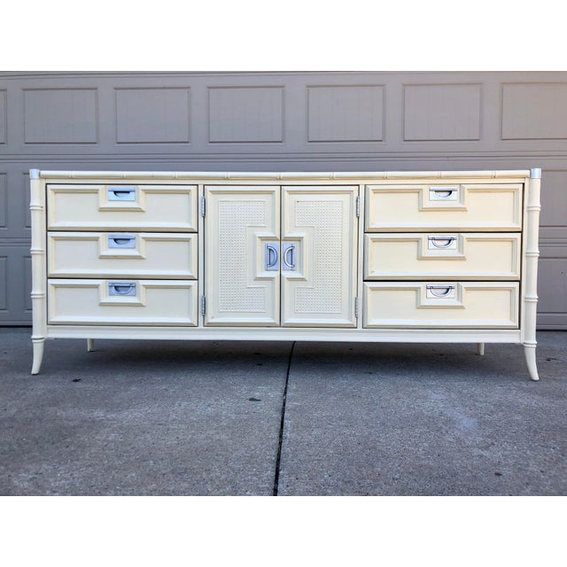 White 1960s Hollywood Regency Stanley Faux Bamboo Lowboy Dresser For Sale - Image 8 of 8