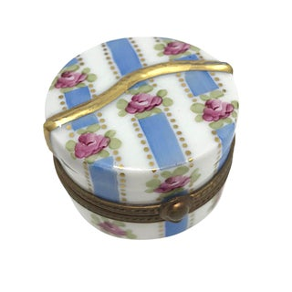Limoges Hand Painted Hat Box For Sale