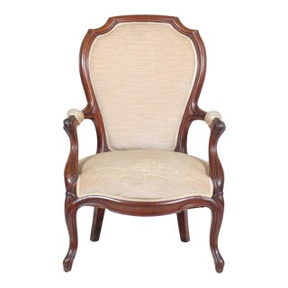 Louis Philippe Armchair With Cream Upholstery For Sale