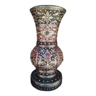 Vintage Moroccan Handmade Wood Vase For Sale