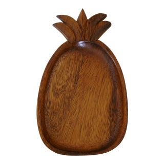Vintage Wood Pineapple Tray For Sale
