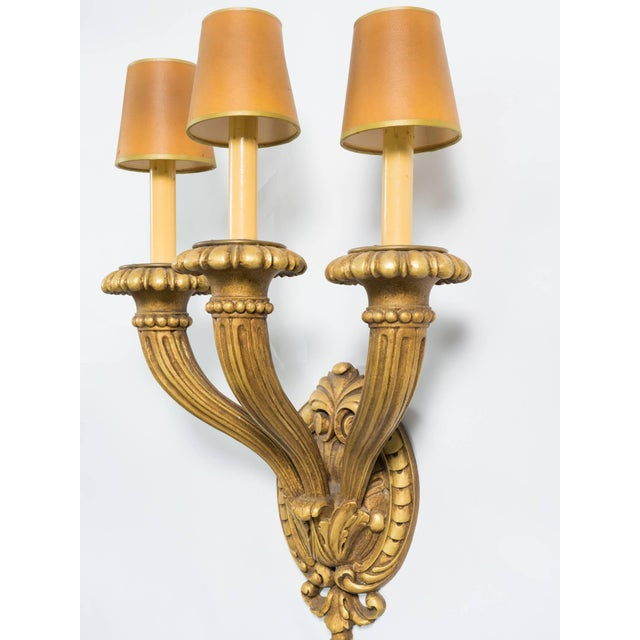 French Oversized Carved Wooden Sconces For Sale - Image 3 of 7