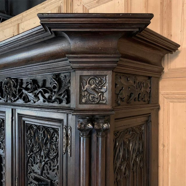 Wood 19th Century French Gothic Buffet a Deux Corps ~ Cabinet For Sale - Image 7 of 13
