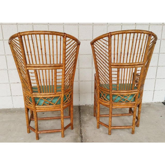 Bamboo High Back Arm Chairs- A Pair - Image 5 of 6