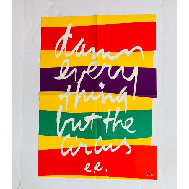 """1960s Vintage Sister Mary Corita Kent """"Damn Everything but the Circus"""" Banner Print For Sale In Palm Springs - Image 6 of 10"""