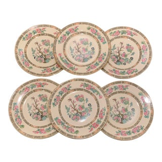Antique Indian Tree Morley Ware England Chinoiserie Plates - Set of 6 For Sale