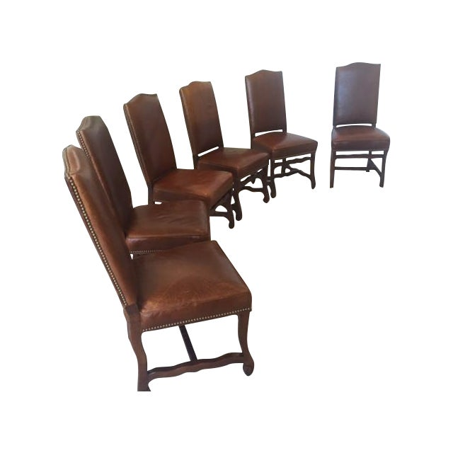 Leather Dining Chairs With Nailheads - Set of 6 - Image 1 of 9