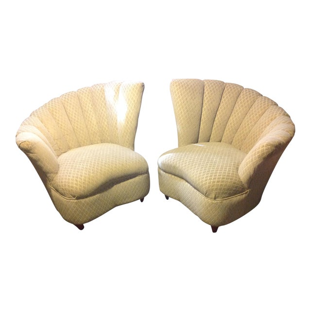 Pair of Mid Century Modern Tan Fan Chairs For Sale