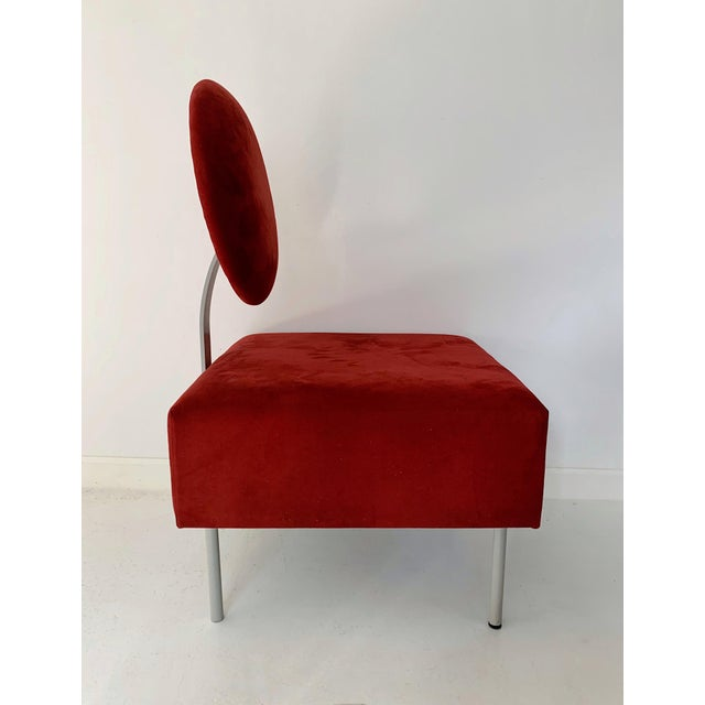 Contemporary 1980's Vintage Andreu World Contemporary Red Square Lounge Chair For Sale - Image 3 of 8