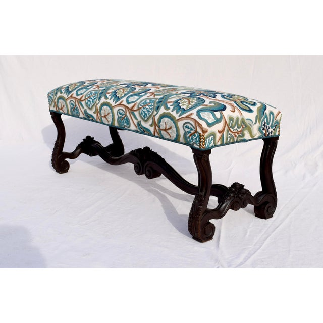 A mid 19th century Empire bench fully restored & upholstered in striking English embroidered & imported crewel fabric....