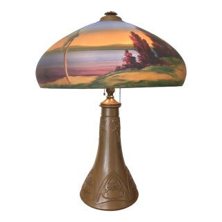 Arts & Crafts 1930s Mission Style Reverse Painted Glass Shade Lamp Lake George Adirondack Style For Sale