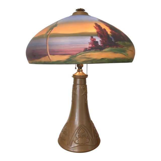Arts & Crafts Reverse Painted Glass Shade Lamp For Sale
