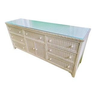 1970s Vintage Henry Link White Wicker Dresser For Sale
