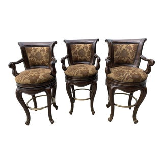 Marge Carson Loire Swivel Bar Stools - Set of 3 For Sale