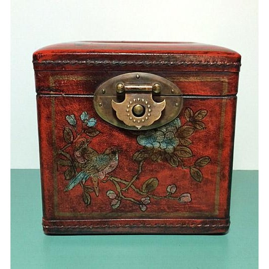 Asian Chinoiserie Antiqued Red Wood Tissue Box - Image 2 of 7