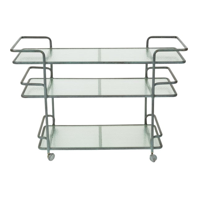 Richard Frinier Bronze Bar Cart for Brown Jordan For Sale