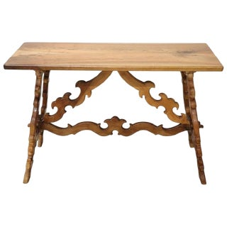 19th Century Italian Renaissance Style Walnut Desk or Side Table With Lyre Legs For Sale