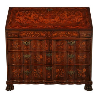 Fine Dutch Marquetry Drop Front Secretary / Desk For Sale