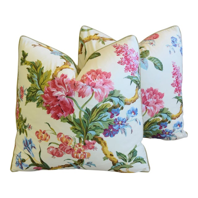 """French Brunschwig & Fils Floral Feather/Down Pillows 21"""" Square - Pair For Sale"""