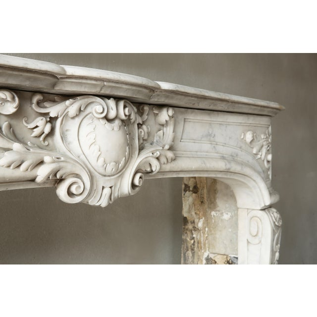 Early 19th Century 19th Century, Louis XIV Style, Antique Fireplace of Carrara Marble For Sale - Image 5 of 13