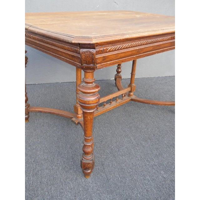 Brown Antique Spanish Style Library Table Desk W Stretcher Mission Style For Sale - Image 8 of 13