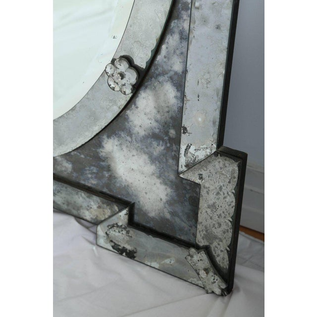 1940's Venetian Mirror With Elegant Shield Form Hand Etched Designs For Sale In Miami - Image 6 of 8
