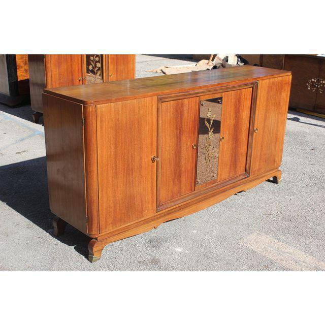 Art Deco 1940s French Art Deco Exotic Rosewood Cut Glass Panel Credenza For Sale - Image 3 of 10
