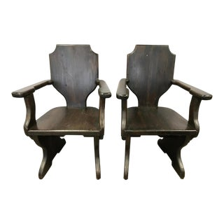 Early 20th Century Arts and Crafts Style Arm Chairs- A Pair For Sale