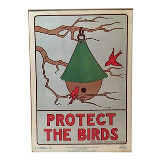 Vintage 1930's Classroom Poster by Elise Reid Boylston - Protect the Birds