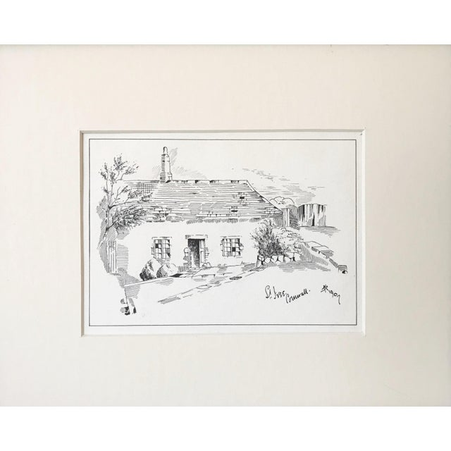 "Finely detailed antique English pen & ink drawing of a cottage titled ""Saint Ives Cornwall"" with the monogram ""AS"" and..."